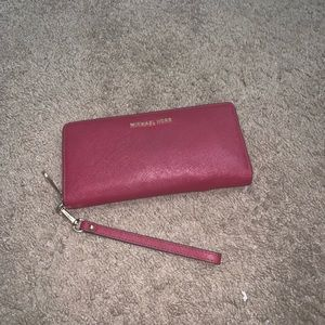Michael Kors Leather Wallet Dark Red As Pictured